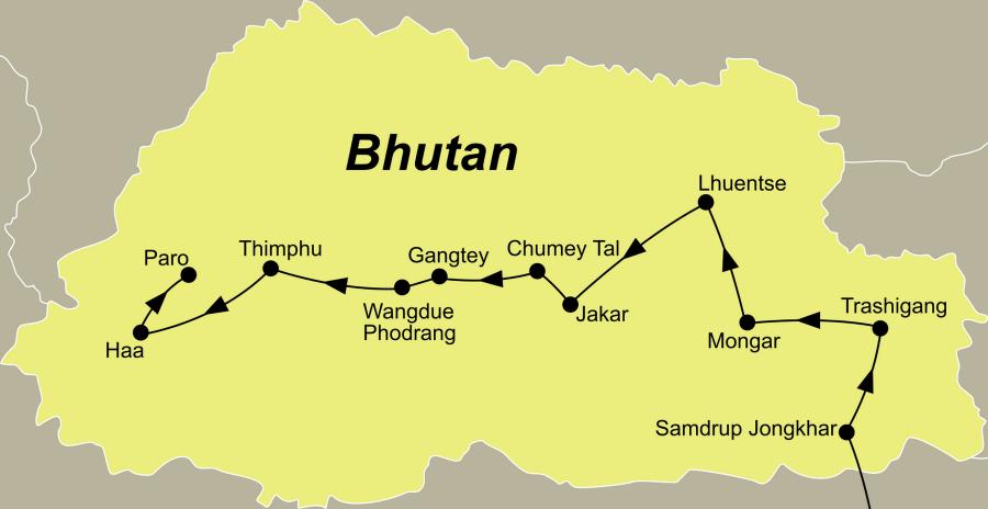 Der Reiseverlauf zu unserer Bhutan Rundreise Bhutan - die große Durchquerung startet in Guwahati und endet in Paro.