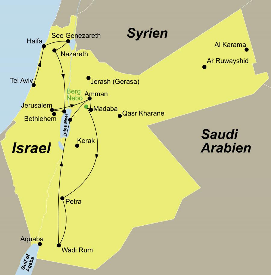 Die Jordanien Rundreise führt von Tel Aviv über Jaffa – Caesarea Maritima – Haifa – Akko – See Genezareth – Tabgha – Kapernaum – Galiläa - Nazareth – Beit Alfa – Totes Meer – Jerusalem – Amman – Madaba – Berg Nebo – Shobak – Petra – WadiRum – Totes Meer nach Amman.
