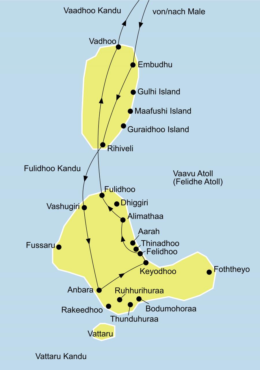 Der Reiseverlauf zu unserer Malediven Reise - Inselhopping mti der MV Aisha startet und endet in Male.