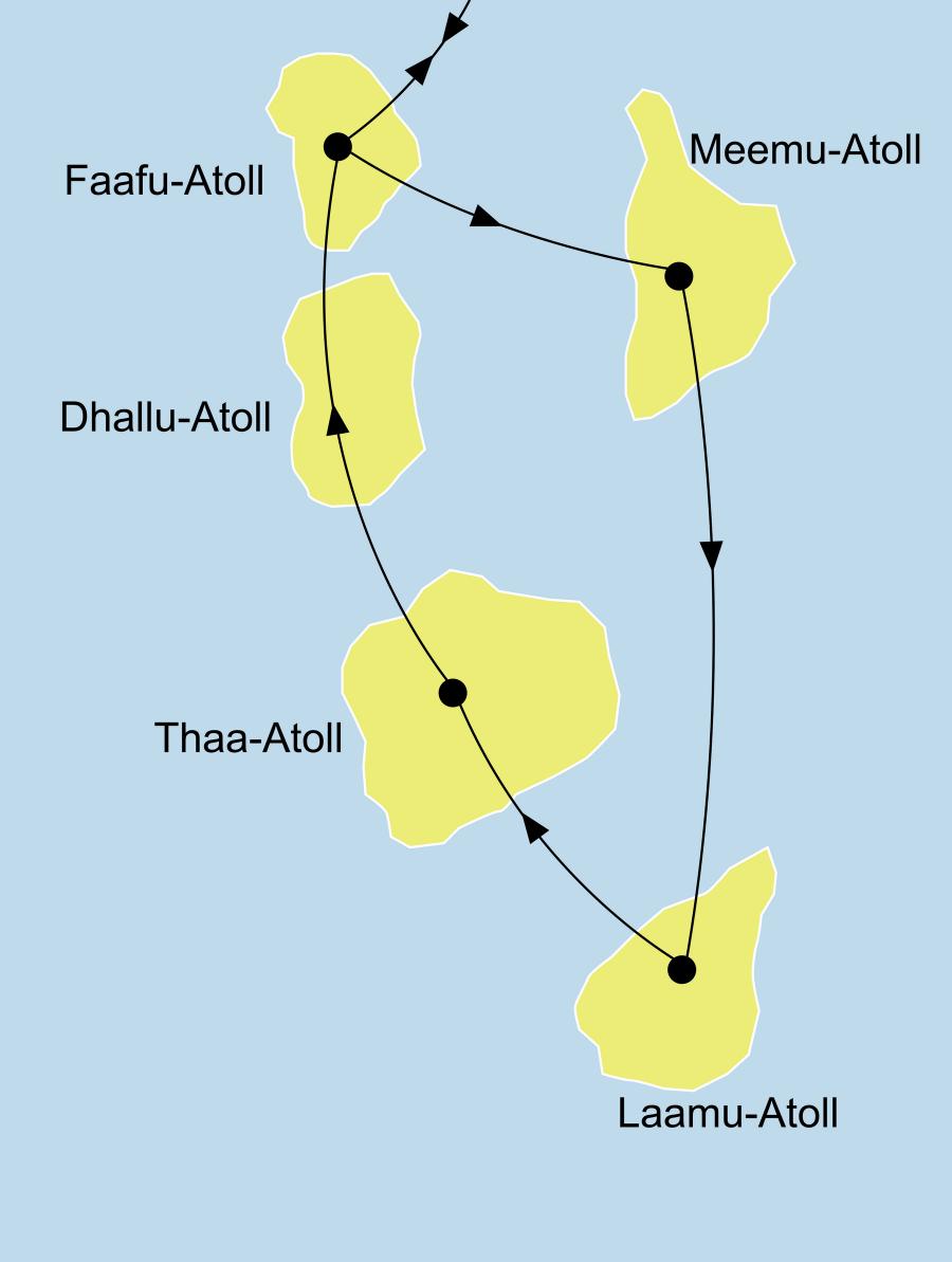Der Reiseverlauf zu unserer Malediven Reise - Tauchsafari mit der MY Sheena & Filitheyo Island Resort startet und endet im Nilhande - Atoll.