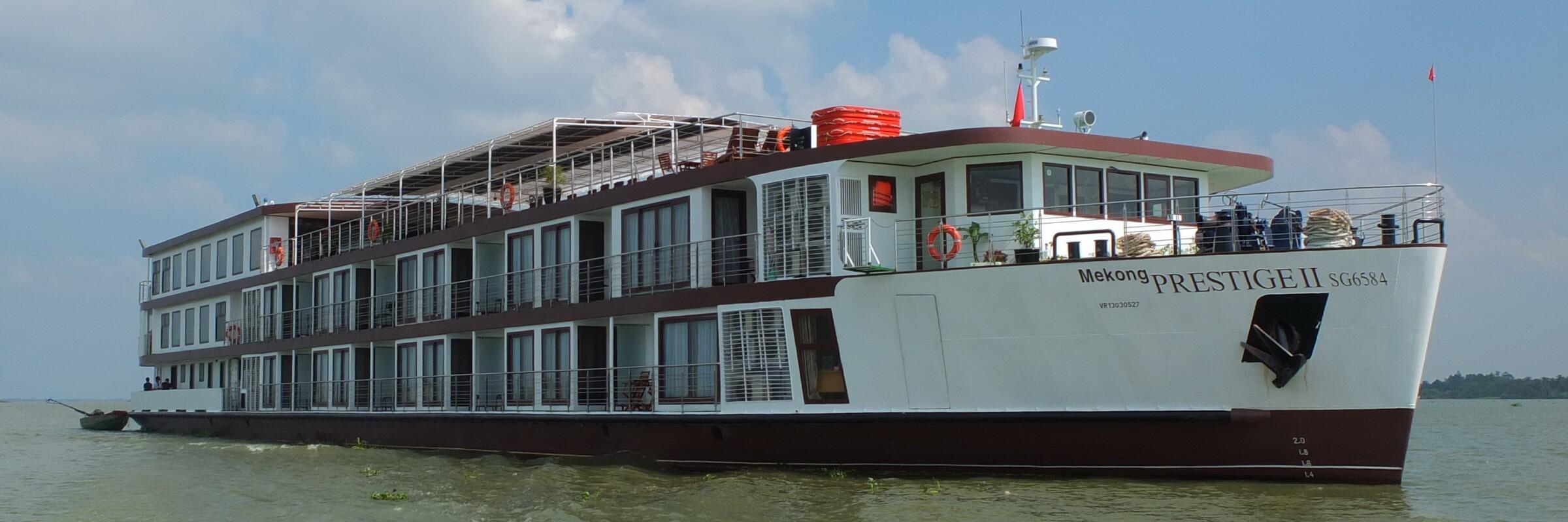 Die luxuriöse Mekong Prestige II fährt zwischen Kambodscha und Vietnam auf dem Mekong