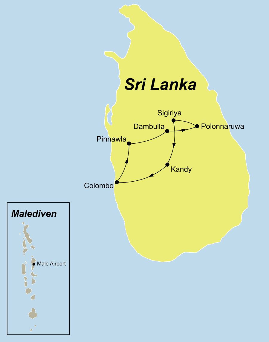 Die Sri Lanka und Malediven Urlaub und abtauchen Rundreise führt von Colombo nach Sigiriya und Polonnaruwa nach Kandy und anschließend auf die Malediven