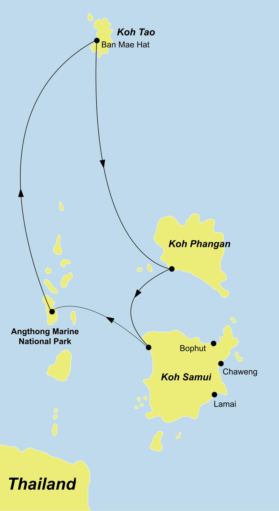 Die Thailand Rundreise führt von Koh Samui durch den Angthong Nationalpark über Koh Tao und Koh Phangan wieder zurück nach Koh Samui.