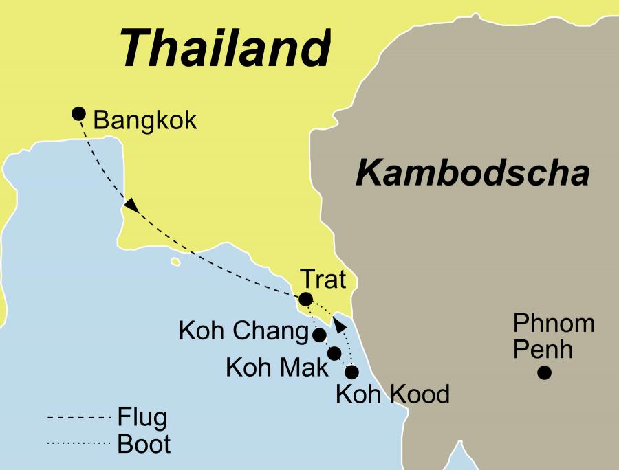 Der Reiseverlauf zu unserer Thailand Reise führt von Koh Chang über Koh Kham – Koh Mak – Koh Rang – Koh Kood zurück nach Koh Chang.