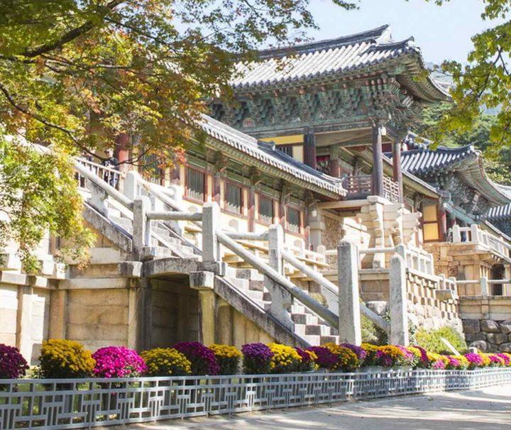 Der Bulguksa Tempel bei Gyeongju gilt als Meisterwerk der Blütezeit buddhistischer Kunst im Silla-Königreich.