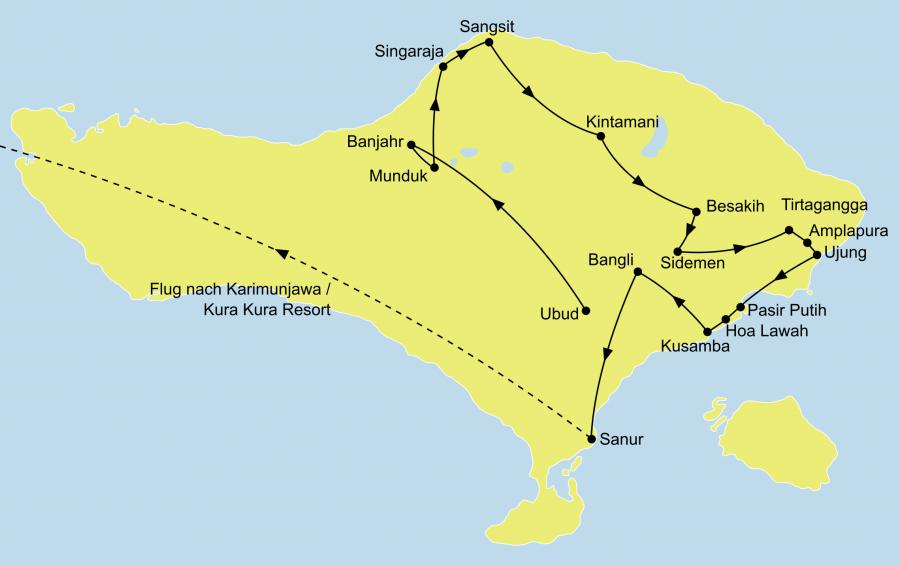 Die Java und Bali Rundreise führt von Bali nach Java bis nach Singapur