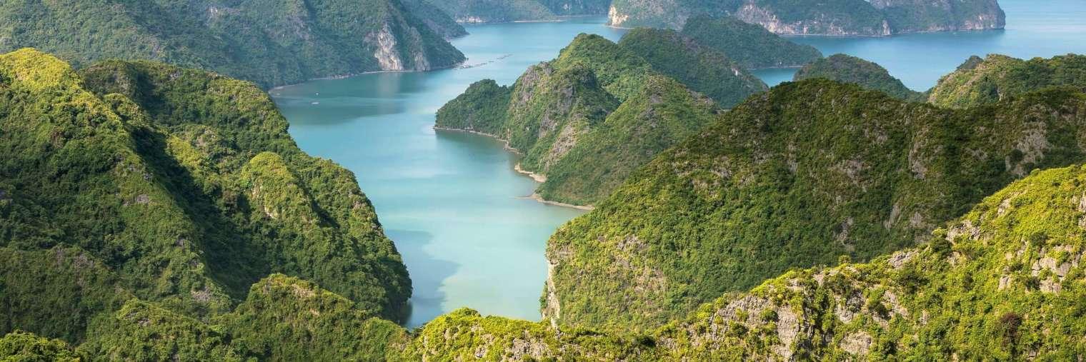 Die Halong Bucht im Golf von Tonkin in Vietnam zählt zu den schönsten Landschaften Vietnams und ist seit 1994 UNESCO Weltnaturerbe.
